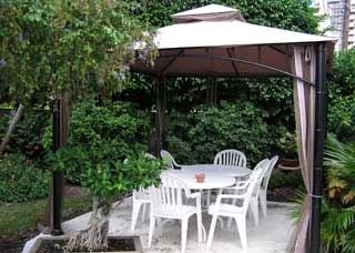 Secluded patio area for dining and discussions